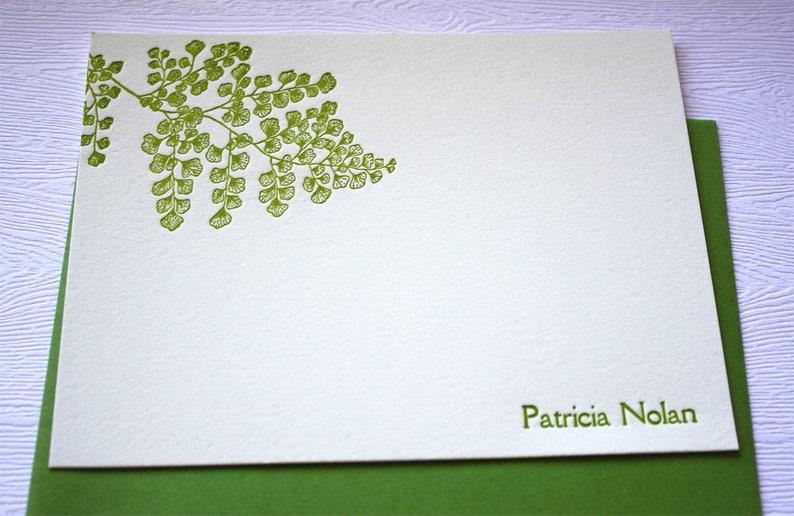 Personalized Letterpress Stationery Hawaiian Maidenhair Fern  \u02bbIwa \u02bbIwa