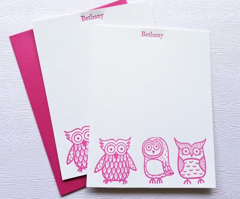 Owls Letterpress Stationery Children Baby Magenta Pink