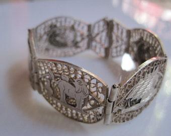 Vintage Egyptian Bracelet - 800 Silver Filigree Panel Bracelet - Art Deco Jewelry - Link Bracelet - Egyptian Jewelry