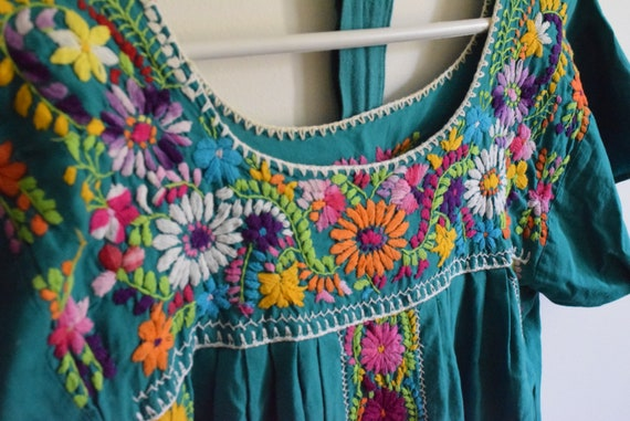 Vintage Turquoise Embroidered Mexican Dress Large