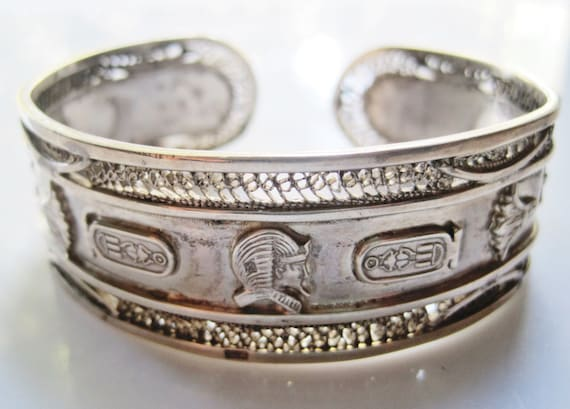 Vintage Silver Egyptian Cuff Egyptian Revival Bracelet With Etsy