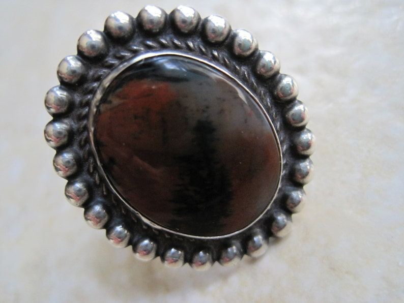 Vintage Southwestern Petrified Wood Ring Size 5 and Half Silver and Picture Agate
