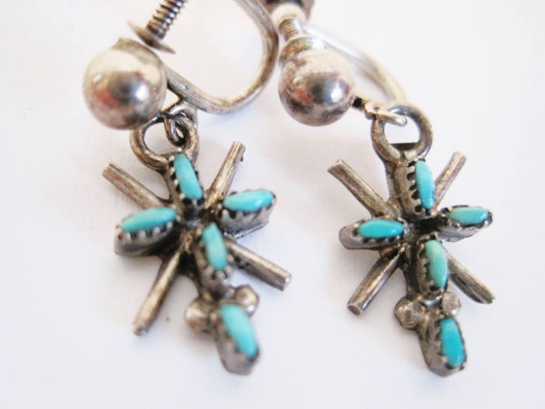 Native American Sterling Silver and  Turquoise Screw Back Earrings Vintage Petite Point Small Cross Earrings