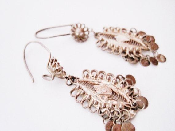 Small Turkish Silver Filigree Earrings