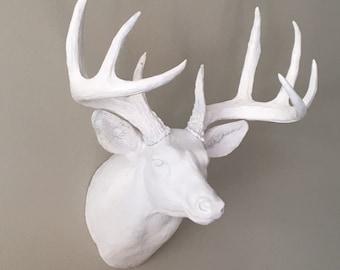 Faux Deer Head Wall Mount - Deer Wall Decor -  Deer Head  - White Tail Deer Head Mount - Woodland Nursery Decor