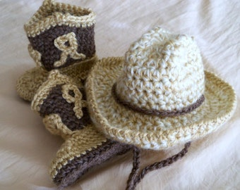 Cowboy Hat and Boots Set - Baby Hat Set - Customize your Cowboy Set - READY to SHIP -  Baby Booties - Western Set - by JoJo's Bootique