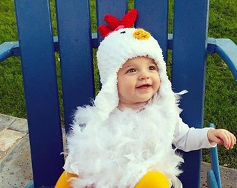 Baby Chicken Costume - Chicken Hat -  Baby Chicken Hat, Booties and Feathered Romper -  Baby and Toddler Costume Hat - by JoJosBootique