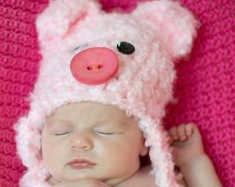 Baby Piggy Hat - Baby Hats - Pig Costume Hat - Crochet Pig Hat - Baby Hats - Newborn Pig Hat - by JoJosBootique