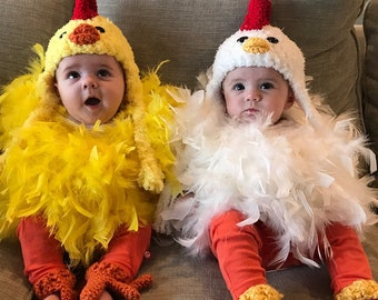 twin chicken costumes halloween chick outfits baby hat feathered romper and booties mix and match sizes bird by jojos bootique