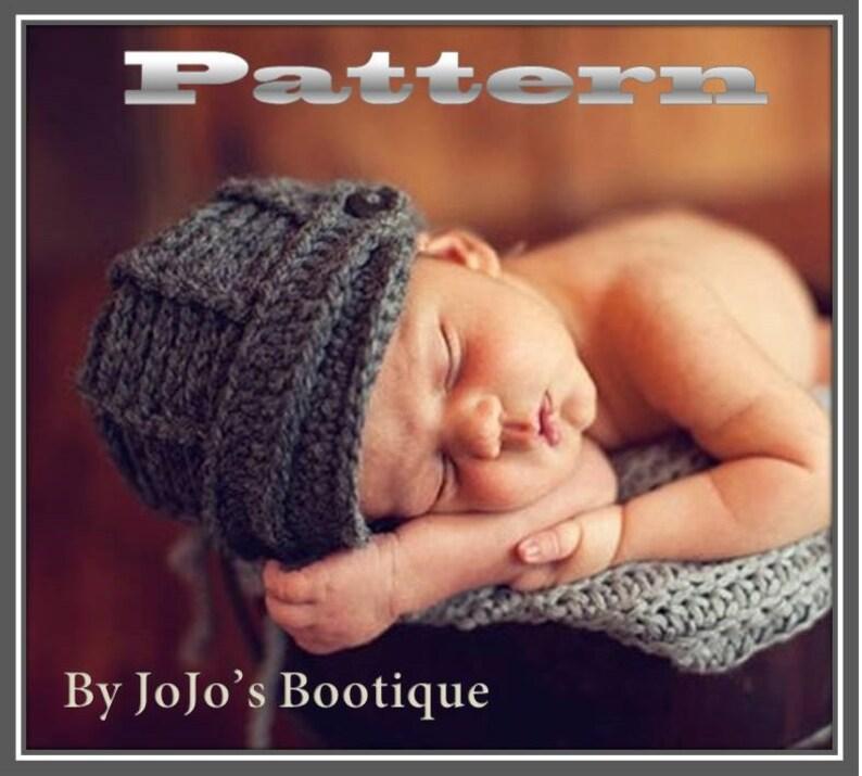 341e32bb0 PDF Newsboy Hat PATTERN - Baby Newsboy Hat - Crochet Pattern - Newborn to 0  - 3 month Sizes -Crochet Newsboy Hat - by JoJosBootique