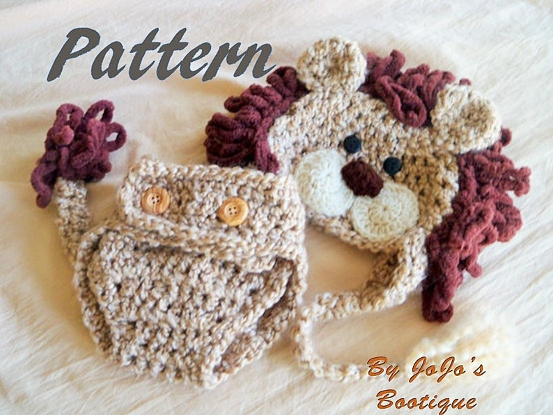 PDF Baby Lion Hat PATTERN with Diaper Cover and Tail  f9240028bd0
