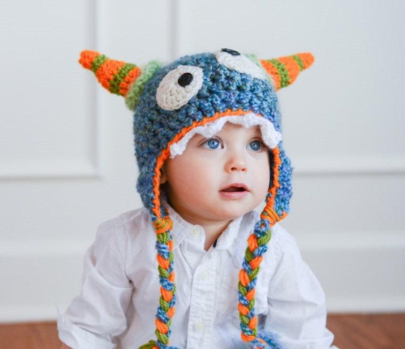 a1fe31a2304 Hat Monster Hat Boy Hat Crochet Monster Hat Toddler