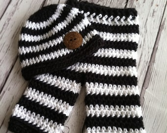 Baby Pants and Hat Set - Black and White Striped Pants - Photography Prop Pants - Striped Baby Pants - by JoJo's Bootique