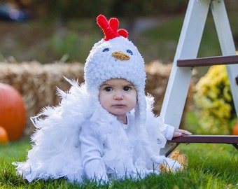 Feathered Baby Chicken Costume - Chicken Halloween Costume - Baby Girl Chick Costume - Costume for Baby - by JoJo's Bootique