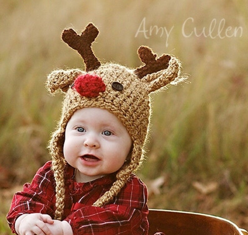 ed762a9ff Baby Hat Reindeer Hat Baby Reindeer Hat Newborn Deer Hat