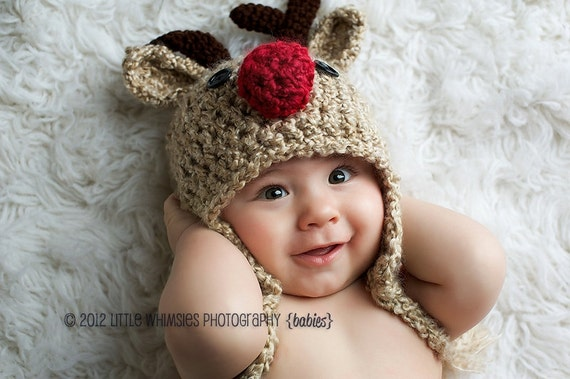 2692e287ccfbe Baby Hat Reindeer Hat READY to SHIP Baby Reindeer Hat