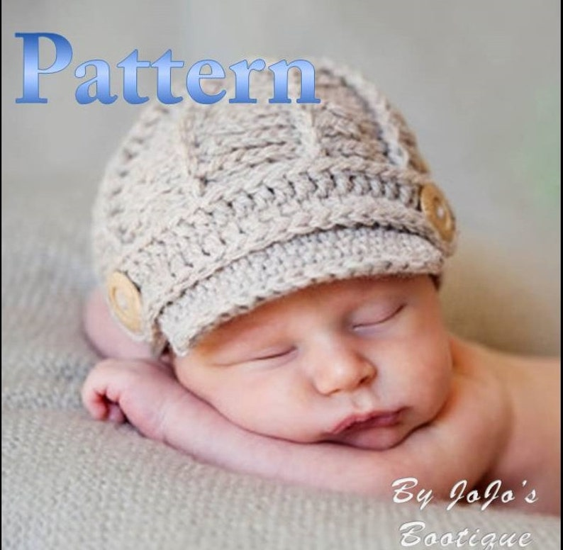 f058c8611d4 PDF Newsboy Hat PATTERN Crochet Baby Newsboy Hat Pattern