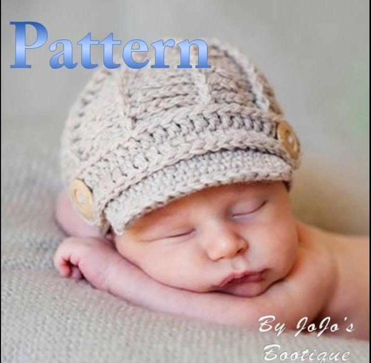 Pdf Newsboy Hat Pattern Crochet Baby Newsboy Hat Pattern Etsy