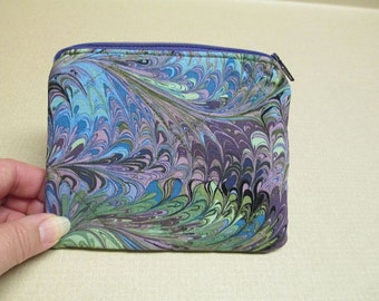 Fabric coin purse, green and purple swirls, quilted