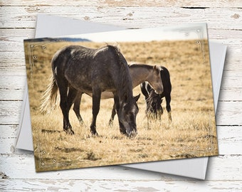 Wild Horses, Note Card, Wild Mustangs, Horse Lovers, Miss You Card, Thinking of You, Sympathy Card, Wyoming Horses, Horse Photography