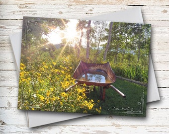 Tranquil Scene, Blank Note Cards, Floral Note Card, Yellow Flowers, Wheelborrow, Nature Note, Summertime Note, Thank You Note, Love Note,