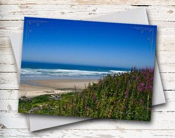 Oregon Coast, Ocean Note Card, Blank Card, Coastline, Coastal View, Coastal Wildflower, Thank You Card, Thinking of You, Sympathy Card