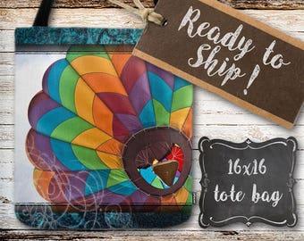 READY TO SHIP, 16 x 16, Hot Air Balloon, Tote Bag, Colorful Tote Bag, Colorful Balloon, Travel Bag, Eco Friendly Tote Bag, Reusable Bag