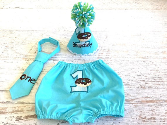 Baby Boy Donut Themed Birthday Cake Smash Outfit With