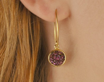 Druzy Earrings, round dangle druzy earrings, Gold Vermeil, marquis earwires, Color Choice-Purple, Copper, White, Silver, Rose Gold