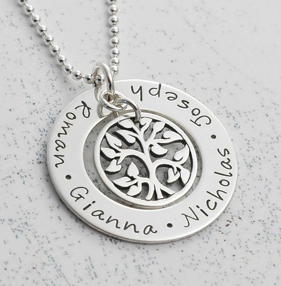 Personalized Hand Stamped Family Tree Necklace Sterling Silver