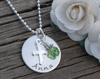 Confirmation - Christening Jewelry, Personalized Necklace with Cross and Birthstone - Faith - Baptism - 1st communion - first communion