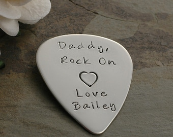 Guitar Pick - Sterling Silver, Personalized - Custom words or phrase - lyrics  - Hand Stamped, I pick you