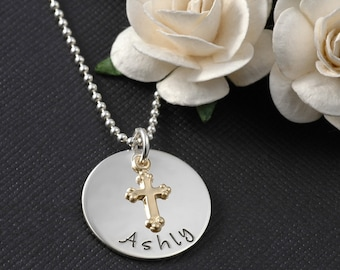 Confirmation, Faith, Baptism, Christening, First Communion, Personalized Necklace, with Cross Charm