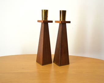 Mid Century Walnut and Brass Candle Holders