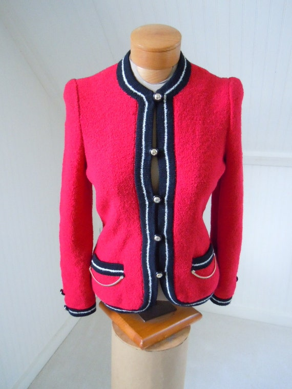 Vintage Red Adolfo for Saks Fifth Avenue Wool Sant