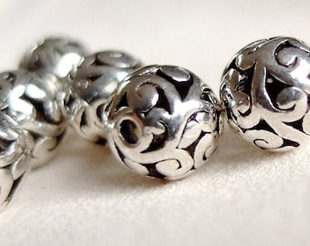 Antique Silver Plated Scroll 12x6mm Round Tube Large 4.5mm Hole Charm Beads 4pc