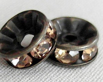 20pc 8mm Champagne Crystal Rhinestone Rondelle Spacer Beads, Antiqued Bronze plated