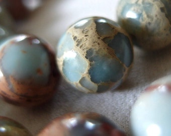 """8"""" strand 12mm Aqua Terra Jasper Round Beads, 17 beads"""