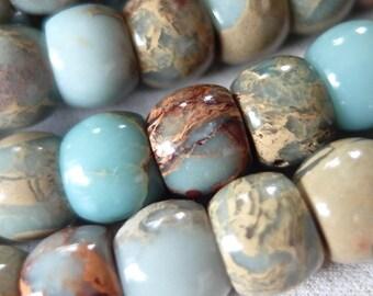 """7.5"""" strand 12mm Aqua Terra Jasper Rondelle Beads, 20 beads"""