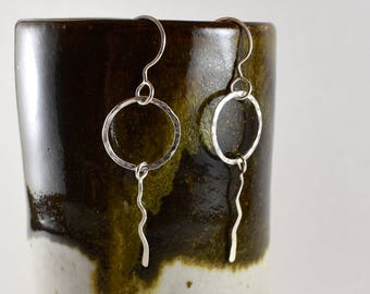 Silver Circle and Squiggle Earrings