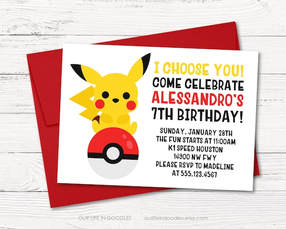 picture regarding Pokeball Printable named Pokemon Invitation, Pikachu Invitation PokeBall Motivated