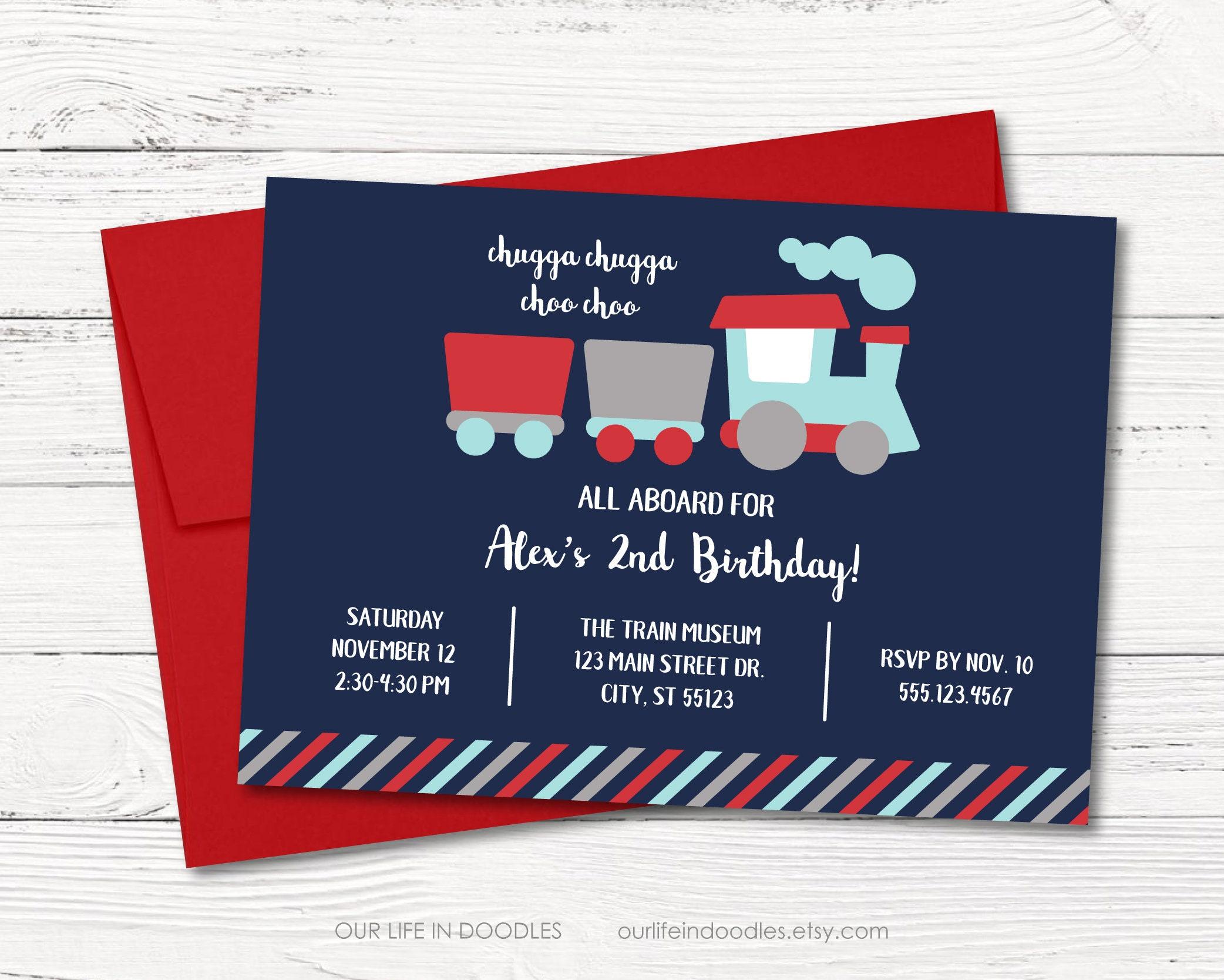Fantastic Vintage Train Birthday Invitation Pattern - Invitations ...