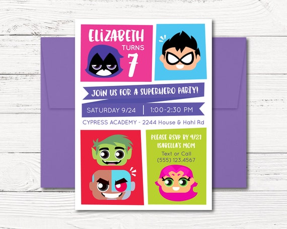 Teen Titans GO Invitation Birthday Party Super Heroes Justice League Girls Raven Robin Printable Digital Invite