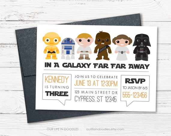 picture regarding R2d2 Printable named Star Wars Birthday Invitation, Vader Chewbacca R2D2 C3PO