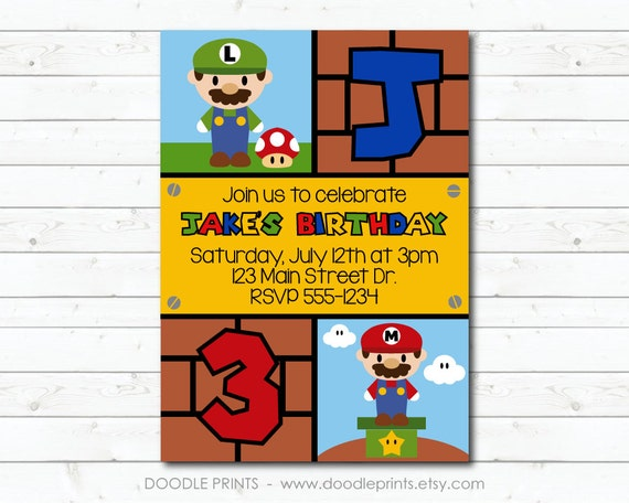 Super Mario Bros Invitation Printable Birthday Party Invitation