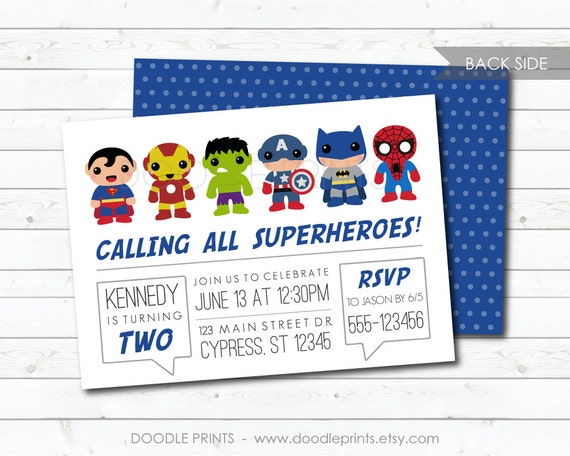 Super Heroes Invitation Avengers Hero Birthday Party Thor Hulk Batman Personalized Printable Boys Background Image