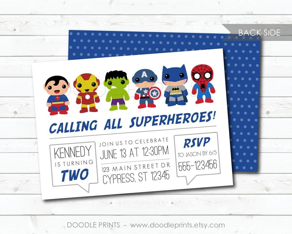Super Heroes Invitation Avengers Hero Birthday Party | Etsy
