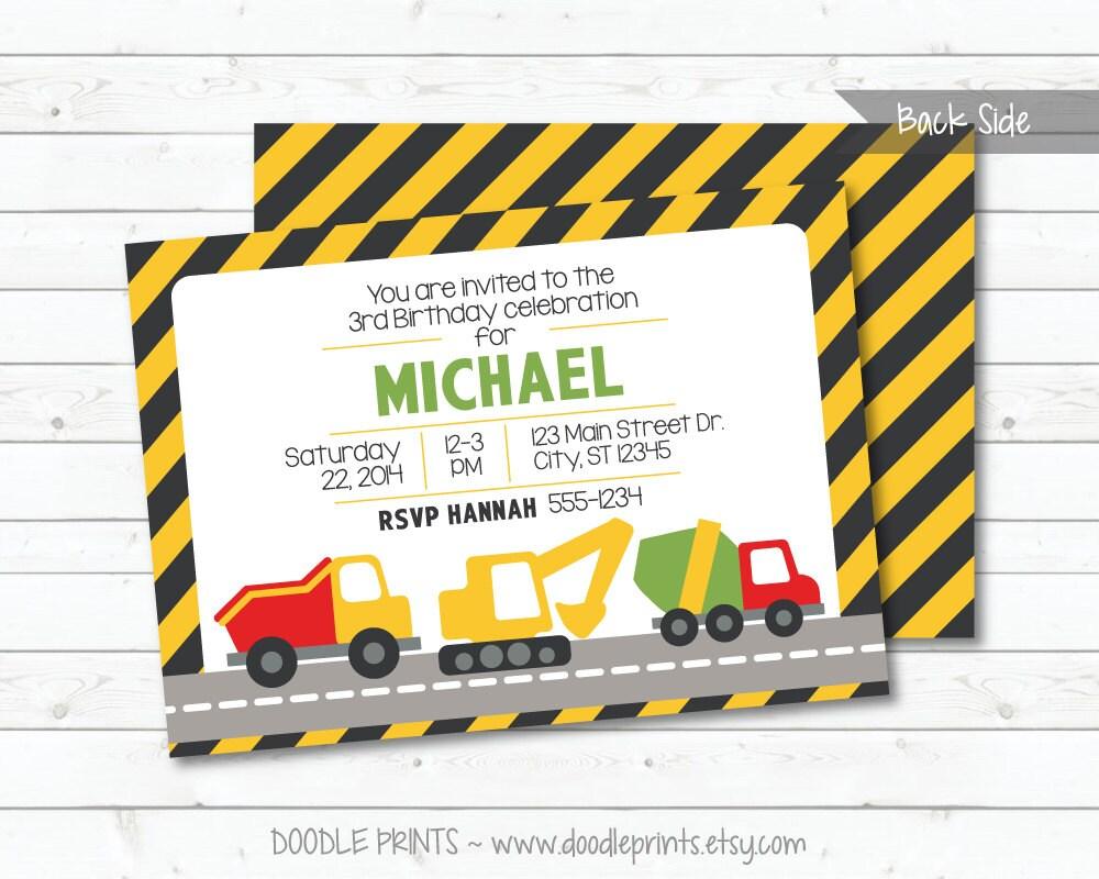 Construction Trucks Birthday Invitation Printable | Etsy