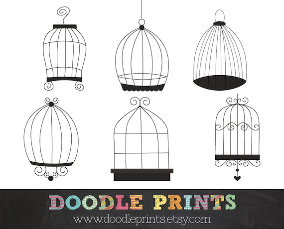 Digital Clip Art Printable - Bird Cages Design - Cage Clipart - Birds Cage  Design - Doodle cage - Personal and Commercial Use