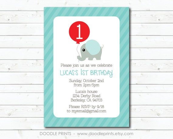 Elephant Invitation Printable Birthday 1st Boy Red Balloon Design 5x7 4x6